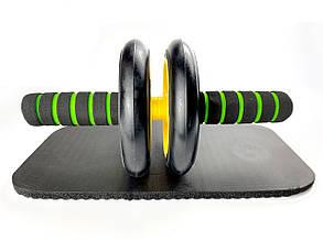Тренажер-колесо для пресса двойное с ковриком, Фитнес колесо, Ролик для пресса