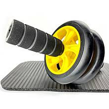 Тренажер-колесо для пресса двойное с ковриком, Фитнес колесо, Ролик для пресса Серые