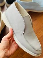 Ботинки лоферы LUX качества из итальянской серой кожи