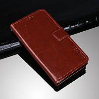 Чехол Idewei для Samsung Galaxy A12 2021 / A125 книжка кожа PU с визитницей коричневый