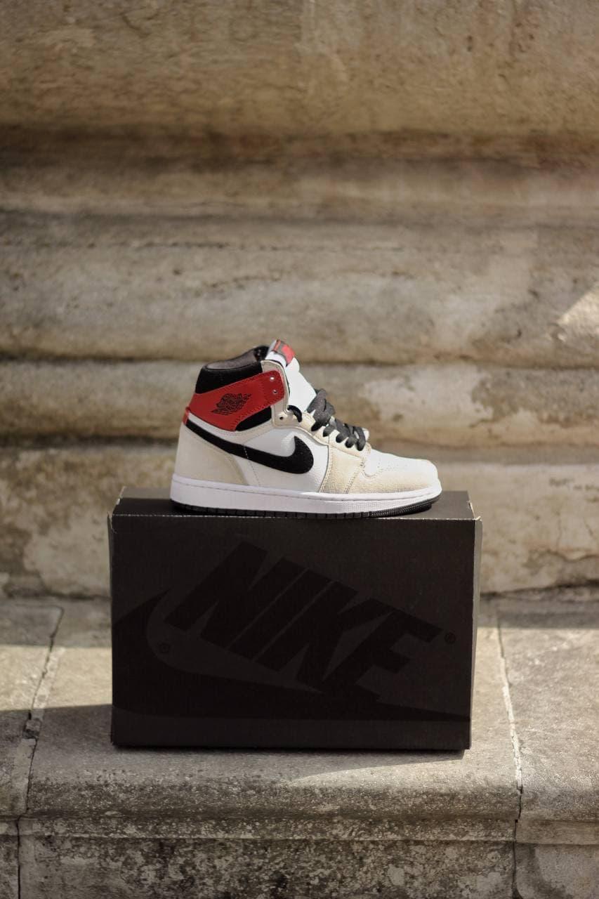 Кросівки жіночі Jordan Retro 1 GREY / RED сіро-червоні