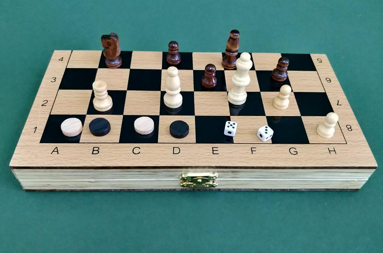 Набір 3-в-1: нарди + шахи + шашки з дерева