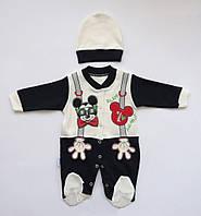 Человечек Mickey Mouse с шапочкой для мальчика. 62, 68 см