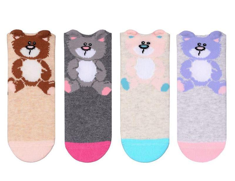Набір 4 шт. Шкарпетки дитячі з 3 d малюнком Bross укорочені