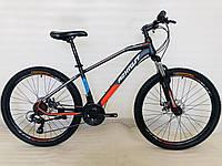 Спортивний гірський велосипед 26 дюймів Azimut Gemini Shimano 15.5 рама чорно-червоний