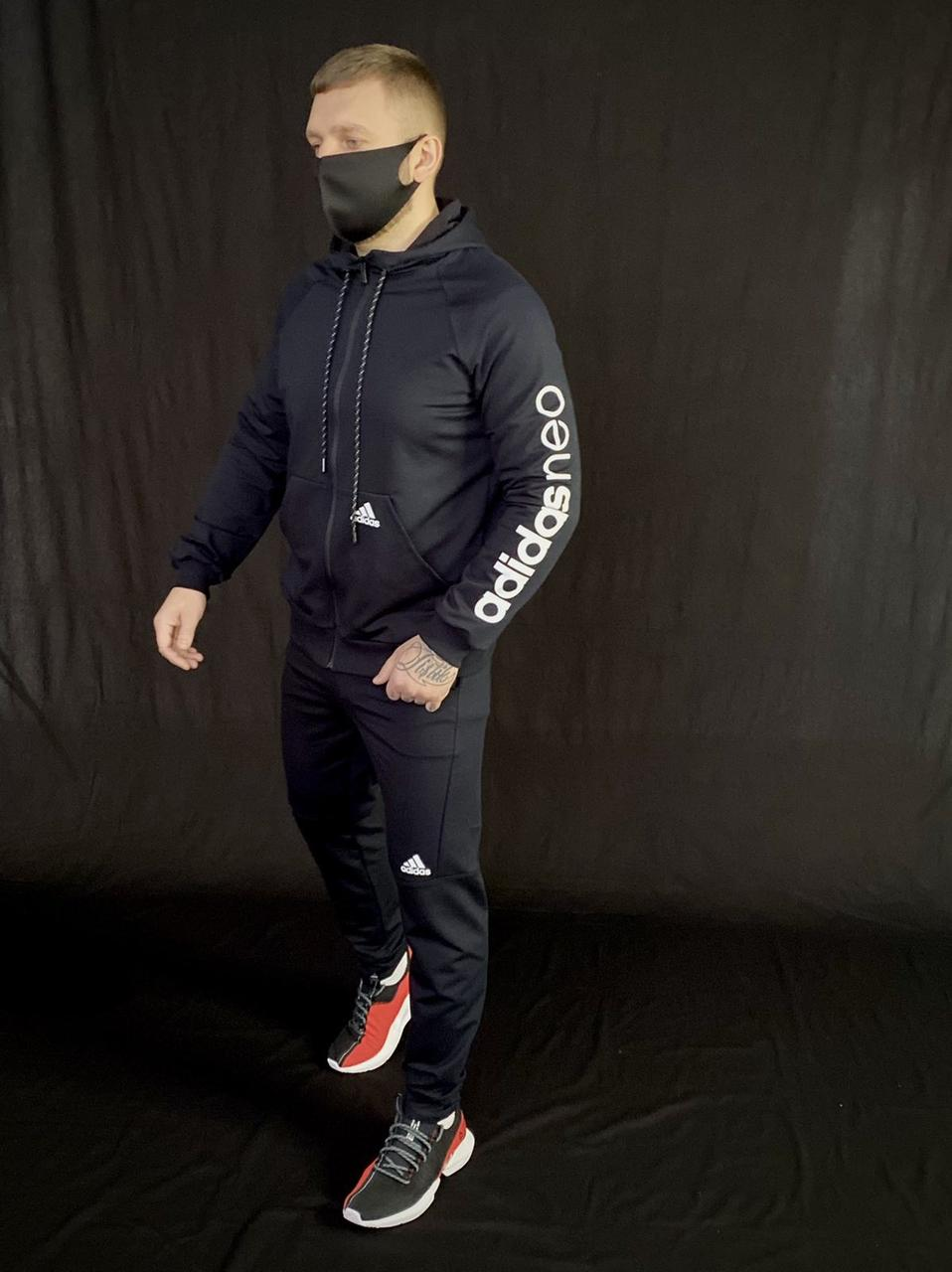 Чоловік спортивний костюм Адідас Neo чорний, якісні чоловічі спортивні штани Adidas репліка