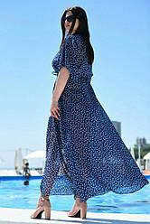 Туника пляжная в горошек темно синего цвета