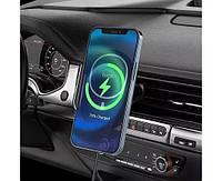 Умный автомобильный держатель с беспроводной зарядкой 15W Hoco CA90 Black для iPhone 12 mini