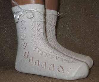 Носки ажурные белого цвета Bross с шелковой ленточкой