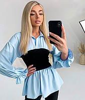 Стильная женская блузка с имитацией корсета, фото 1