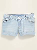 Стильні джинсові шорти з вилогами на штанинах Олд Неві для дівчинки