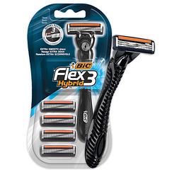 """Станок для бритья мужской """"BIC 3 Flex HYBRID"""" - 1 шт + 4 запасн. касеты"""
