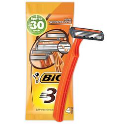 """Станок для бритья """"BIC 3 для чувствительной кожи"""" - 4 шт"""