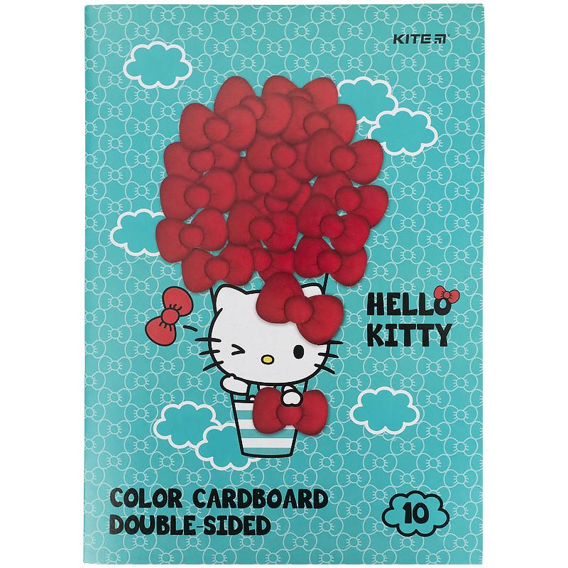 Картон цветной двусторонний (10л / 10 Когда), А4 Hello Kitty hk21-255