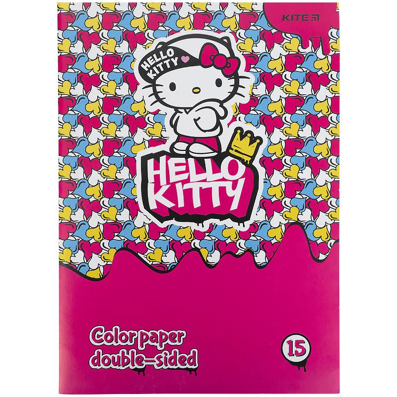 Бумага цветная двухсторонний (15арк / 15 Когда), А4 Hello Kitty hk21-250