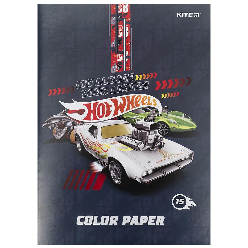 Папір кольоровий двосторонній (15арк/15кол), А4 Hot Wheels hw21-250
