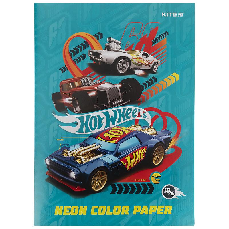 Папір кольоровий неоновий (10арк/5кол), A4 Hot Wheels hw21-252