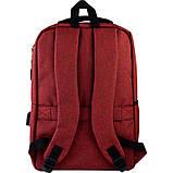 Рюкзак підлітковий GoPack Сity 167-2 бордовий go21-167m-2, фото 3
