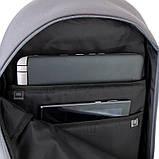 Рюкзак підлітковий GoPack Сity 173-3 сірий, хакі go21-173l-3, фото 9