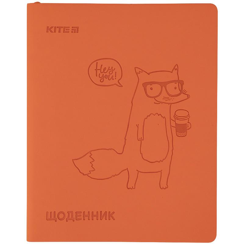 Дневник школьный, мягкая обкл. в клеточку PU, Fox k21-283-4