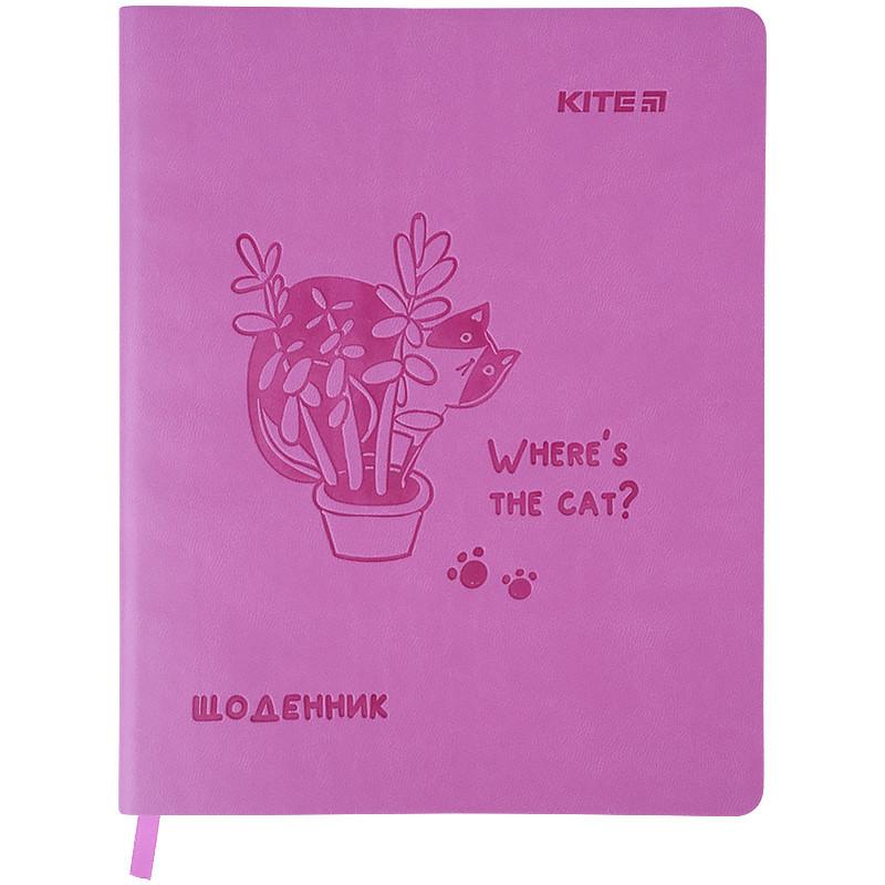 Дневник школьный, мягкая обкл. в клеточку PU, Where the cat? k21-283-2