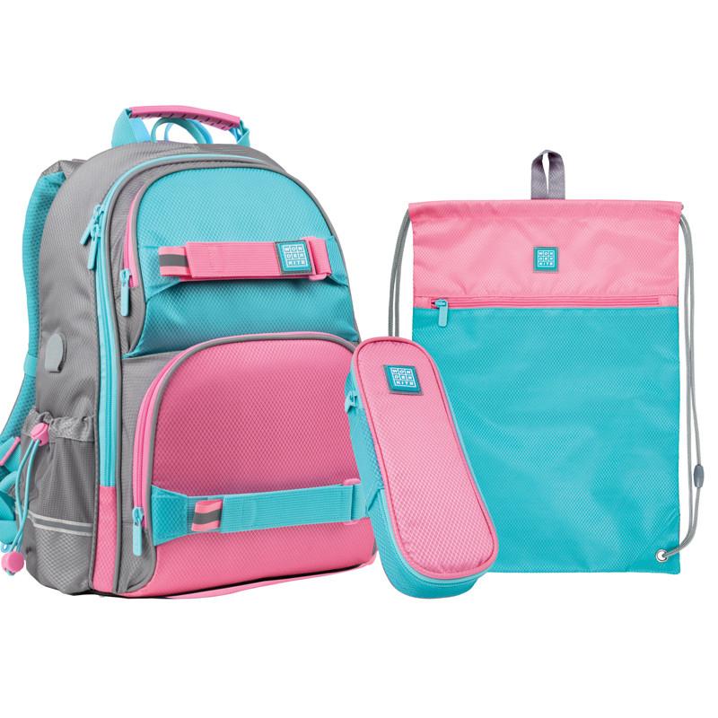 Набір для першого класу рюкзак + пенал + сумка для взуття WK 702 рожево-блак. set_wk21-702m-1