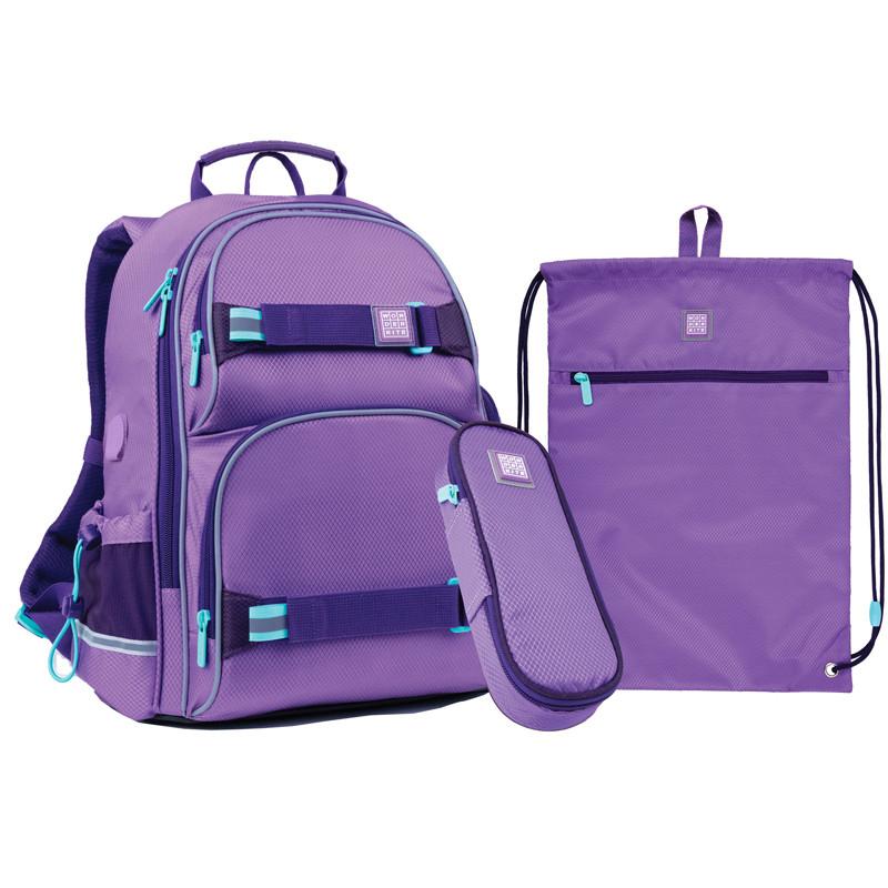 Набор для первого класса рюкзак + пенал + сумка для обуви WK 702 фиолетовый set_wk21-702m-3
