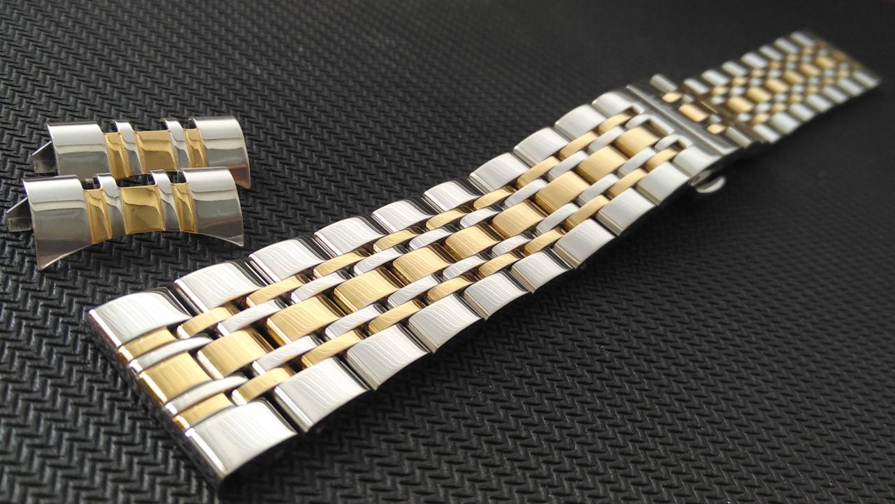 Браслет для часов из нержавеющей стали 316L, литой, глянец с позолотой, прямое/полукруглое окончание. 24 мм