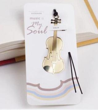 Закладка для книги золотистий тонкий метал музичний інструмент скрипка