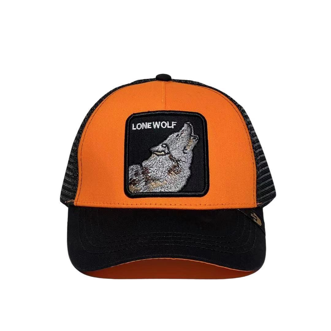Кепка Бейсболка Тракер с сеткой Goorin Brothers Animal Farm Lone Wolf с Волком Черно-оранжевая