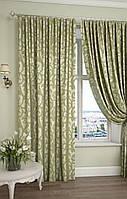 Комплект шторы зелёный +золото 2шт 1.50м/2.60м купить tyulnadom