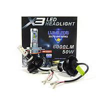 Cветодиодные X3 Philips led лампы H3 50W 12000LM 9-32В