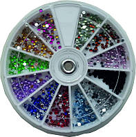 Стразы разноцветные большие камни YRE KMK-08, дизайн ногтей со стразами