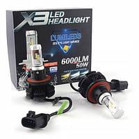 Cветодиодные X3 philips led лампы H13 50W 12000LM 9-32В