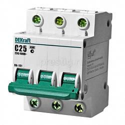 Автоматический выключатель 3-полюсный ВА-101 С25А 4,5кА DEKraft