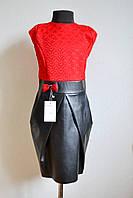 Нарядное платье для девочки 140 размер с юбкой из эко-кожи