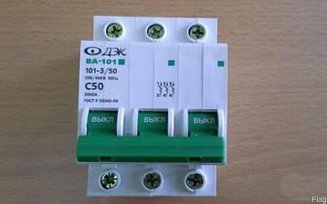 Автоматический выключатель 3-полюсный ВА-101 С50А 4,5кА DEKraft