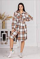 Женское стильное платье рубашка на пуговицах в клетку, фото 1