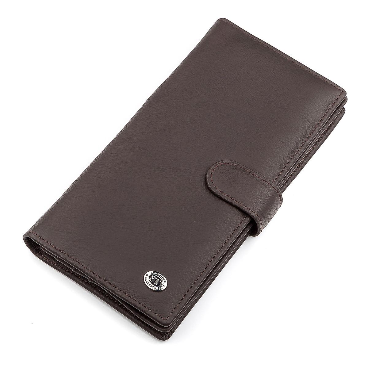 Мужской купюрник ST Leather 18366 (ST147) из натуральной кожи Коричневый