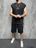 Чёрный мужской летний комплект футболка безрукавка с шортами Чоловічій літній чорний костюм шорти та футболка