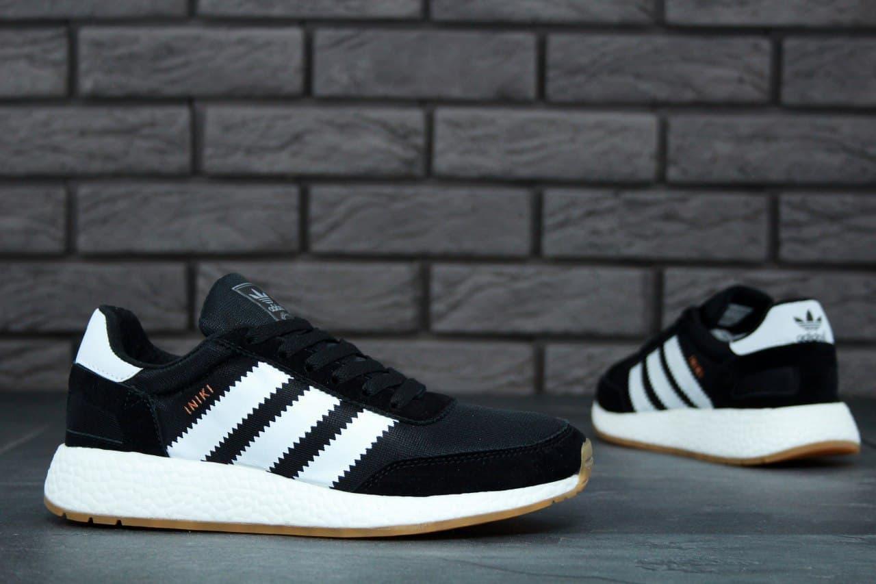 Мужские кроссовки Adidas Iniki Runner (черно-белые) K11431 крутая стильная обувь
