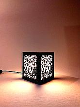 Детский ночник светильник деревянный настольный 12×12×14 с цветочным узором, светильник-ночник