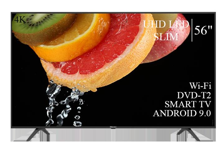 """Телевізор Hisense 56"""" Smart-TV/DVB-T2/USB АДАПТИВНИЙ UHD,4K/Android 9.0"""