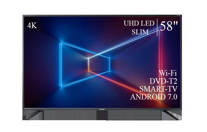 "Телевізор Sharp 58"" Smart-TV/DVB-T2/USB Android 7.0 4К/UHD"