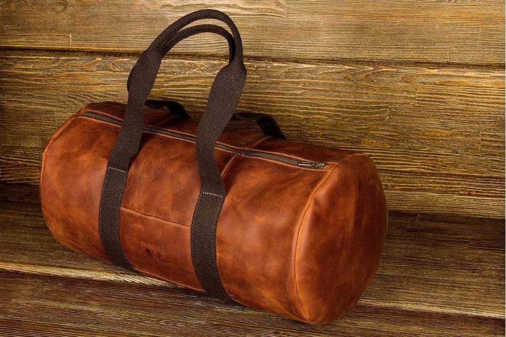 Сумка дорожная винтажная кожа Grande Pelle 11159 Рыжая