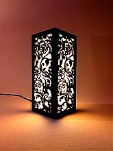 Ночник деревянный настольный 12×12×28 с цветочным узором, светильник-ночник