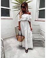 Шикарное Женское платье в пол белого цвета. Французское кружево, размер универсальный
