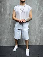 Білий чоловічій літній костюм футболка без рукавів та шорти Мужской белый летний комплект футболка и шорты