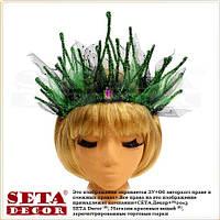 Корона Королева Ёлка на обруче новогодняя зелёная
