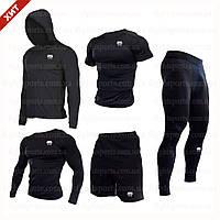 """Компрессионная одежда комплект 5 в 1 VENUM (Венум) для тренировок Черный Пакистан """"В СТИЛЕ"""""""